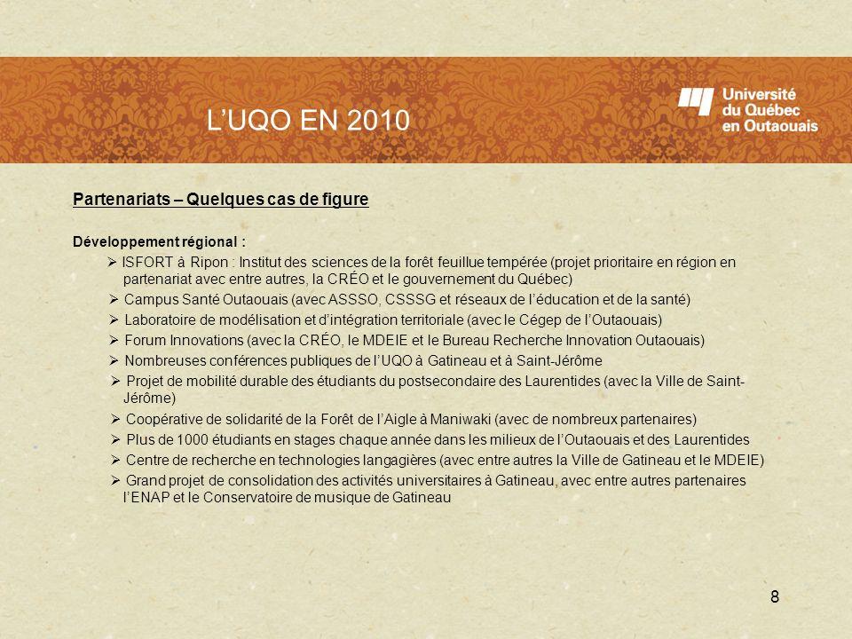 L'UQO en 2010 L'UQO EN 2010 Partenariats – Quelques cas de figure