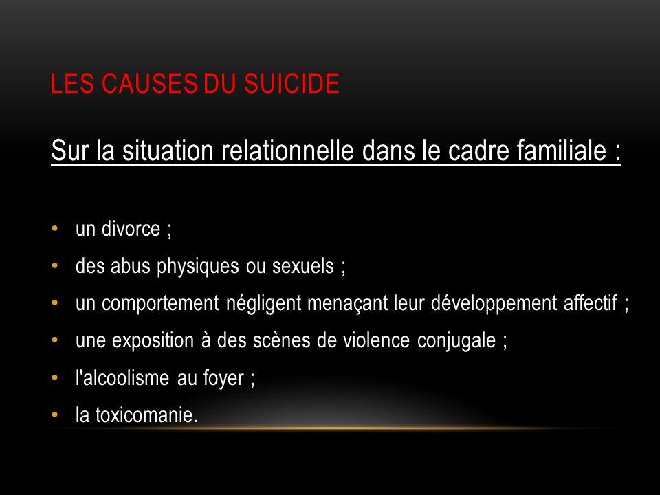 Sur la situation relationnelle dans le cadre familiale :