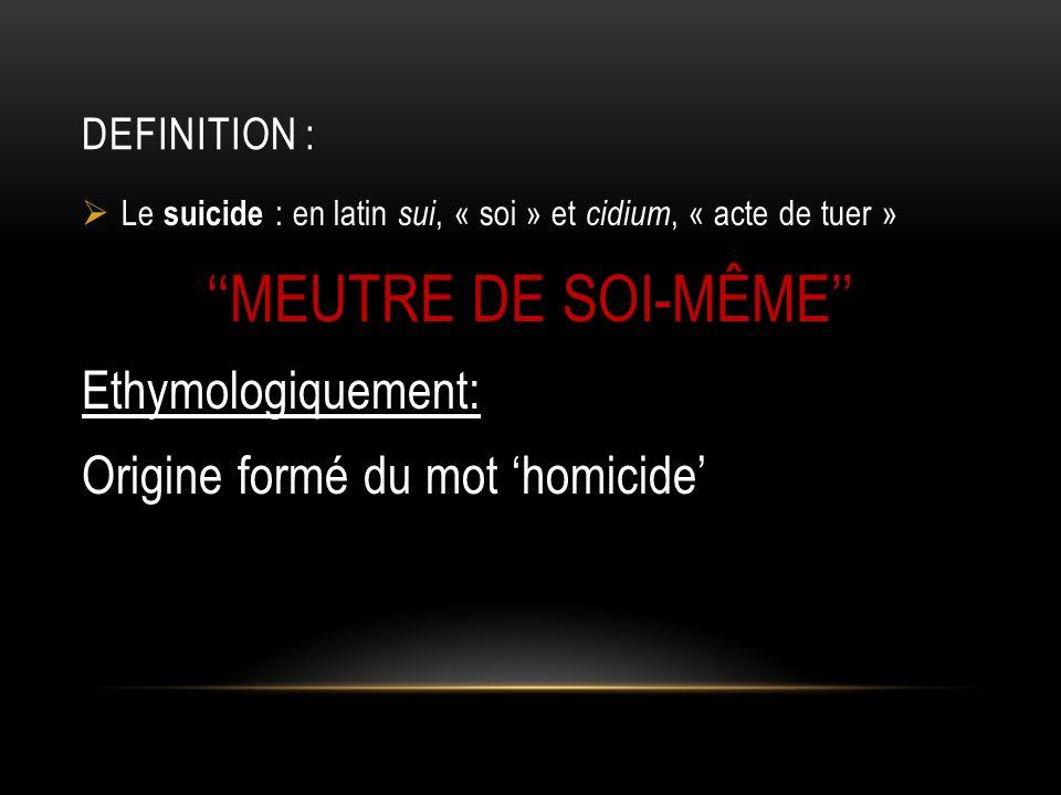 ''MEUTRE DE SOI-MÊME''