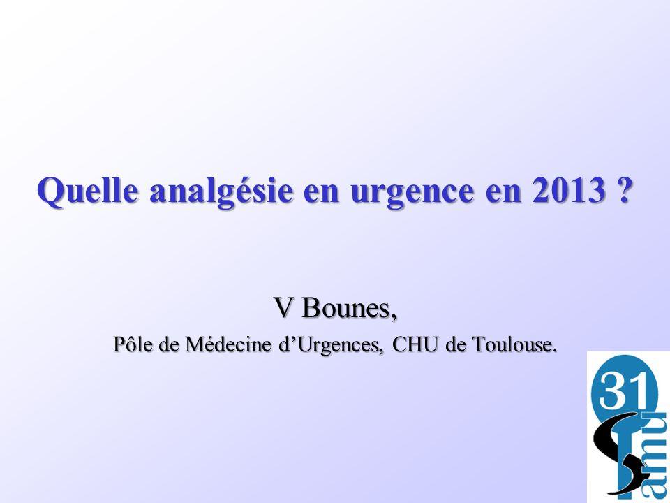 Quelle analgésie en urgence en 2013