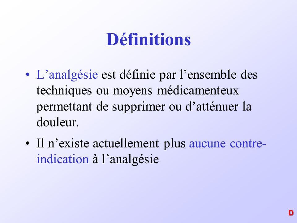 Définitions L'analgésie est définie par l'ensemble des techniques ou moyens médicamenteux permettant de supprimer ou d'atténuer la douleur.