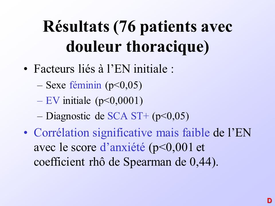 Résultats (76 patients avec douleur thoracique)
