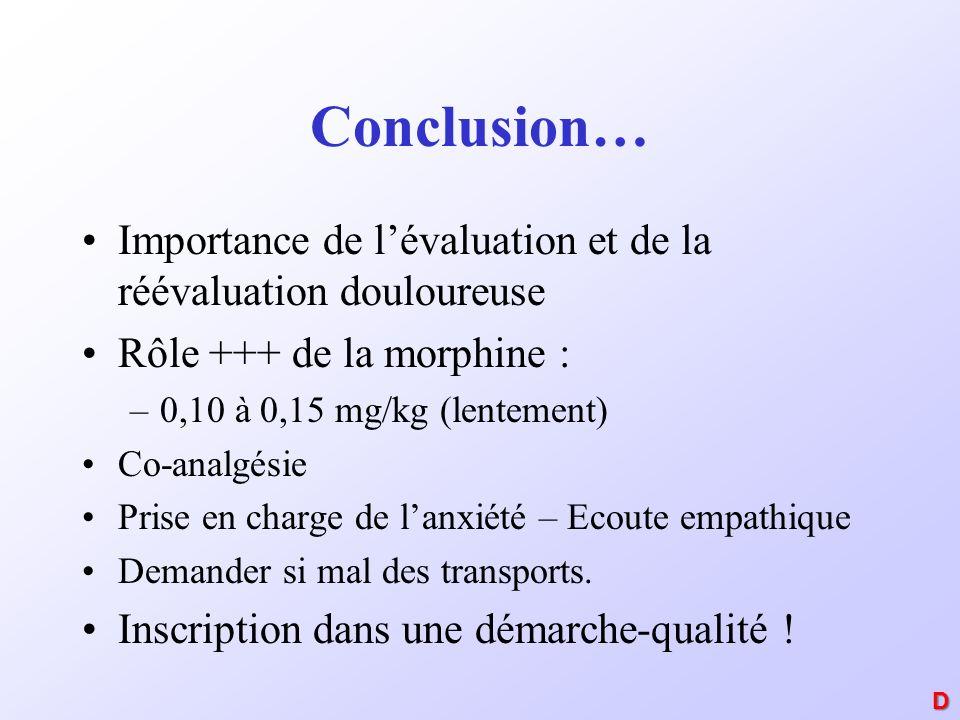 Conclusion… Importance de l'évaluation et de la réévaluation douloureuse. Rôle +++ de la morphine :