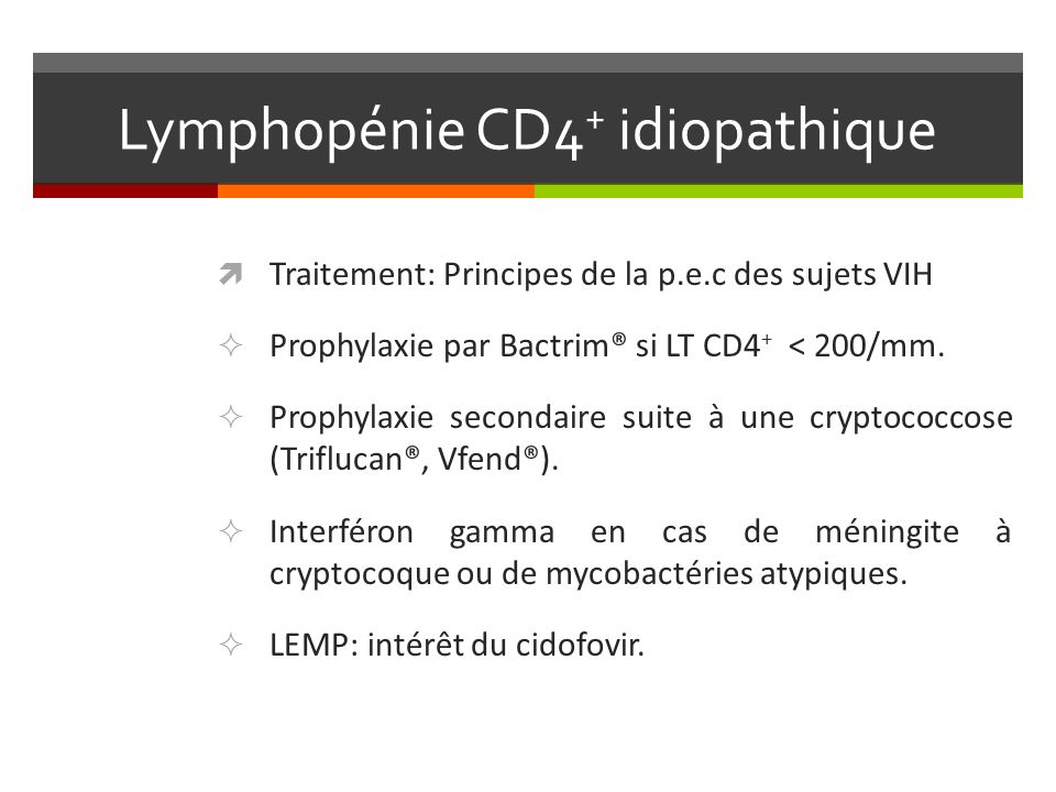 Lymphopénie CD4+ idiopathique