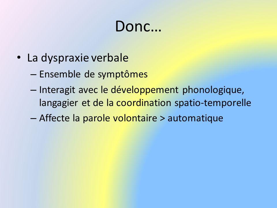 Donc… La dyspraxie verbale Ensemble de symptômes