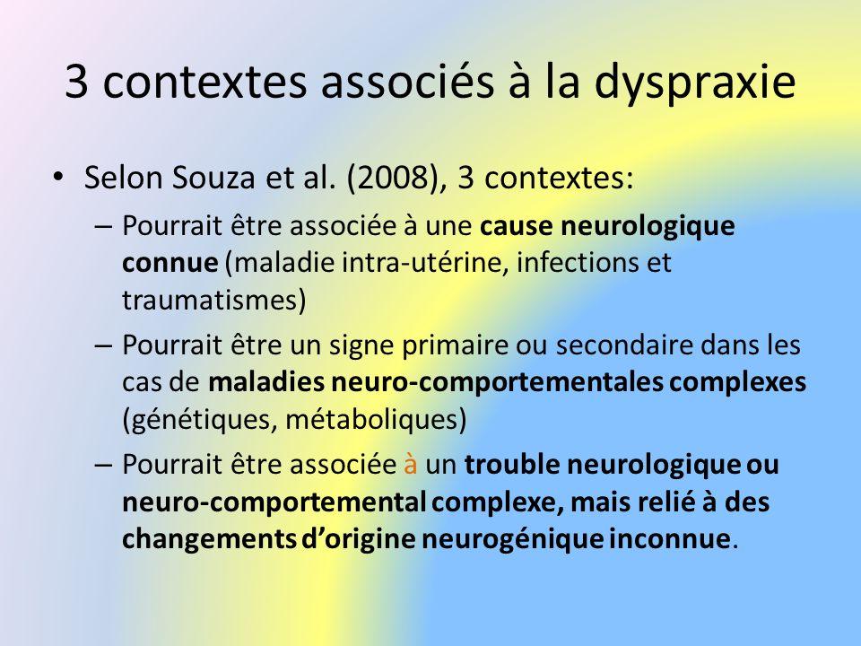 3 contextes associés à la dyspraxie