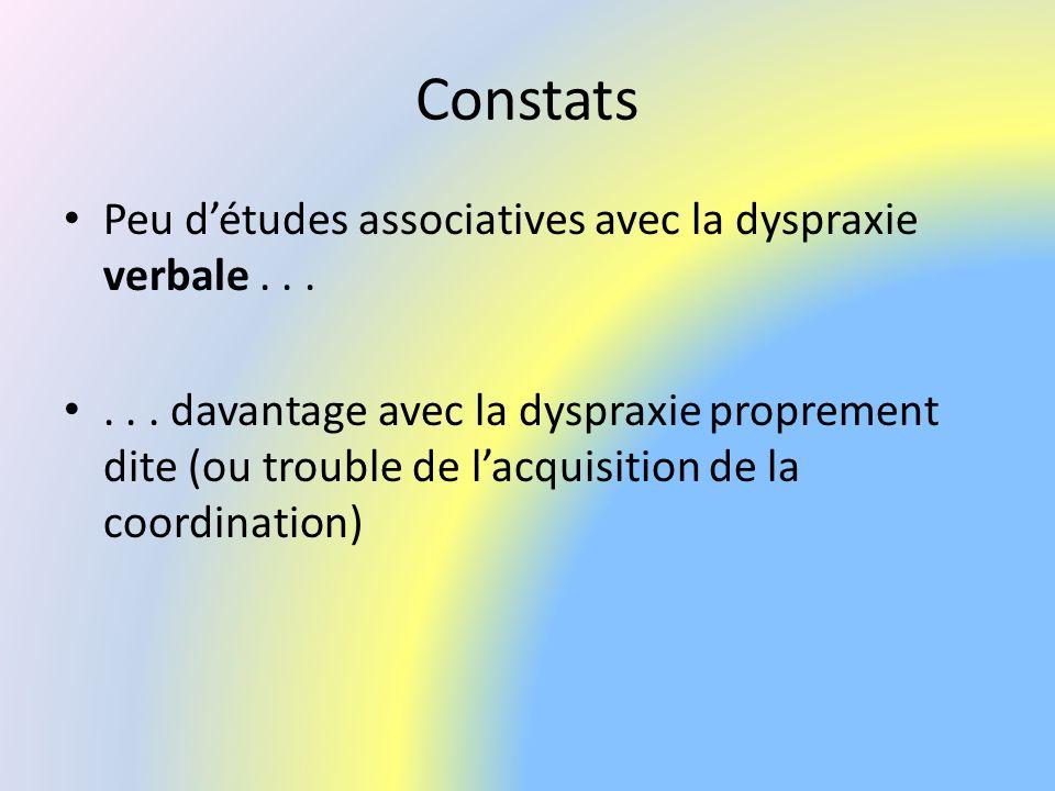 Constats Peu d'études associatives avec la dyspraxie verbale . . .