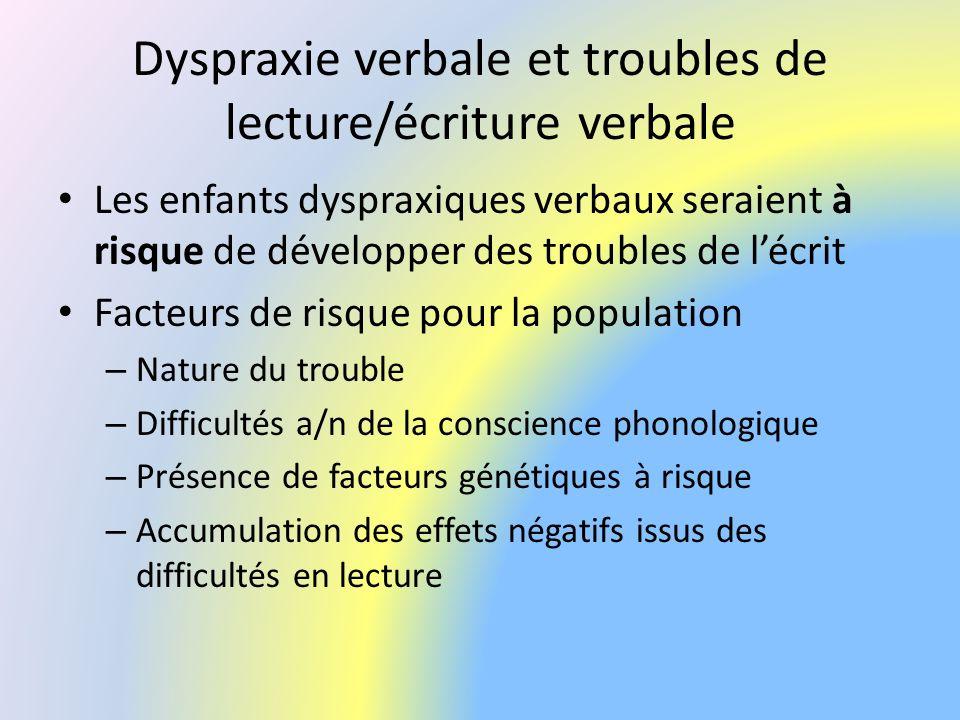 Dyspraxie verbale et troubles de lecture/écriture verbale