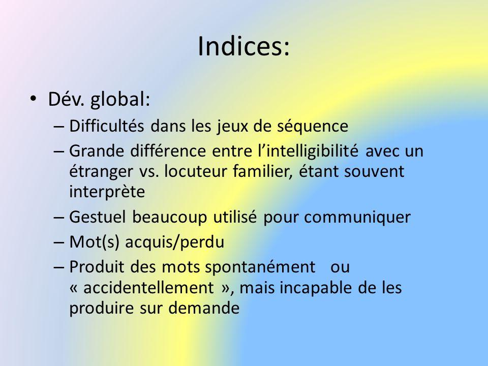 Indices: Dév. global: Difficultés dans les jeux de séquence
