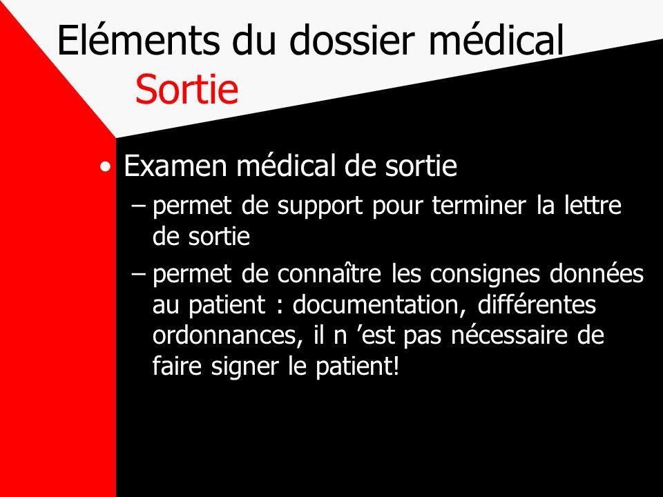 Eléments du dossier médical Sortie
