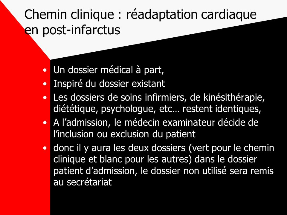 Chemin clinique : réadaptation cardiaque en post-infarctus