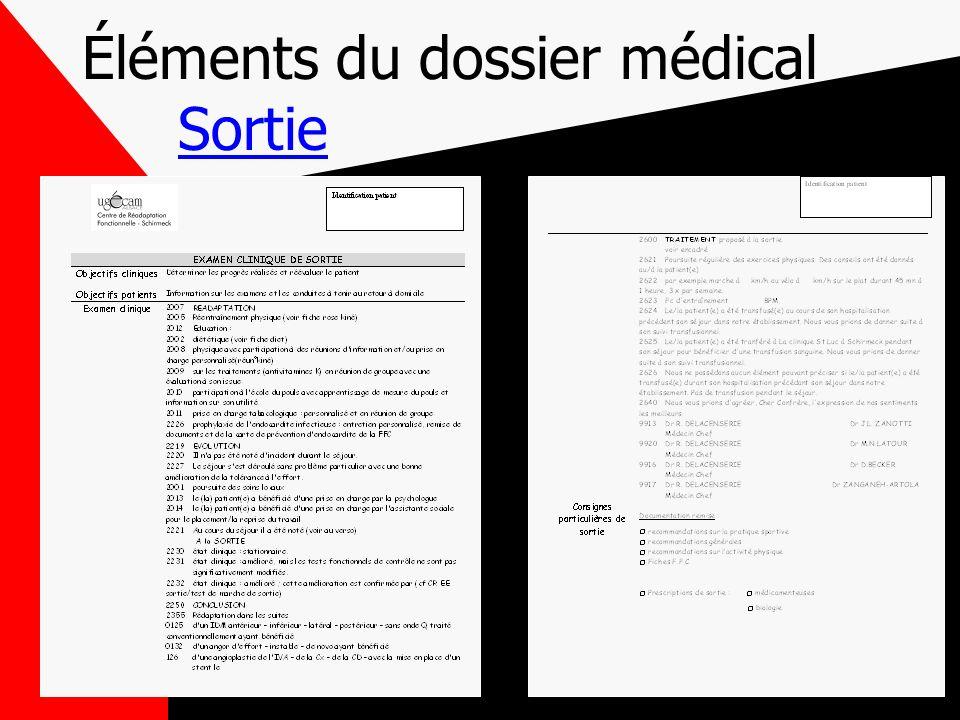 Éléments du dossier médical Sortie