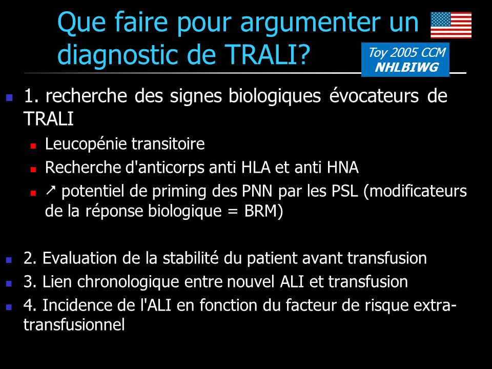 Que faire pour argumenter un diagnostic de TRALI