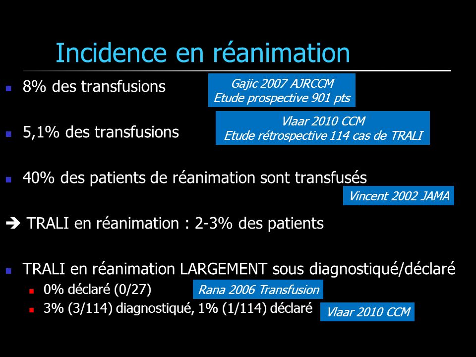 Incidence en réanimation