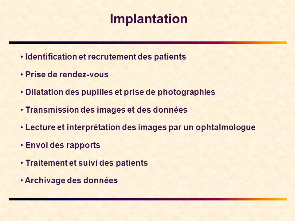 Implantation Identification et recrutement des patients