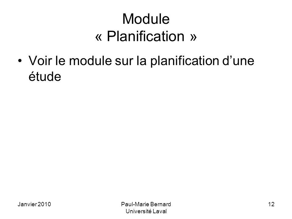 Module « Planification »