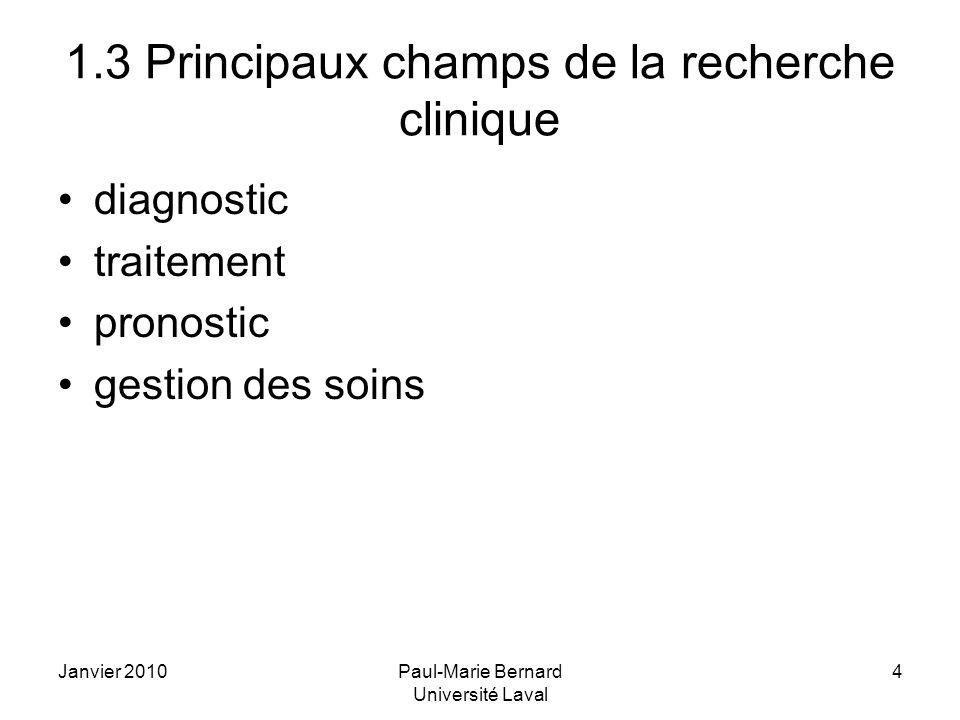 1.3 Principaux champs de la recherche clinique