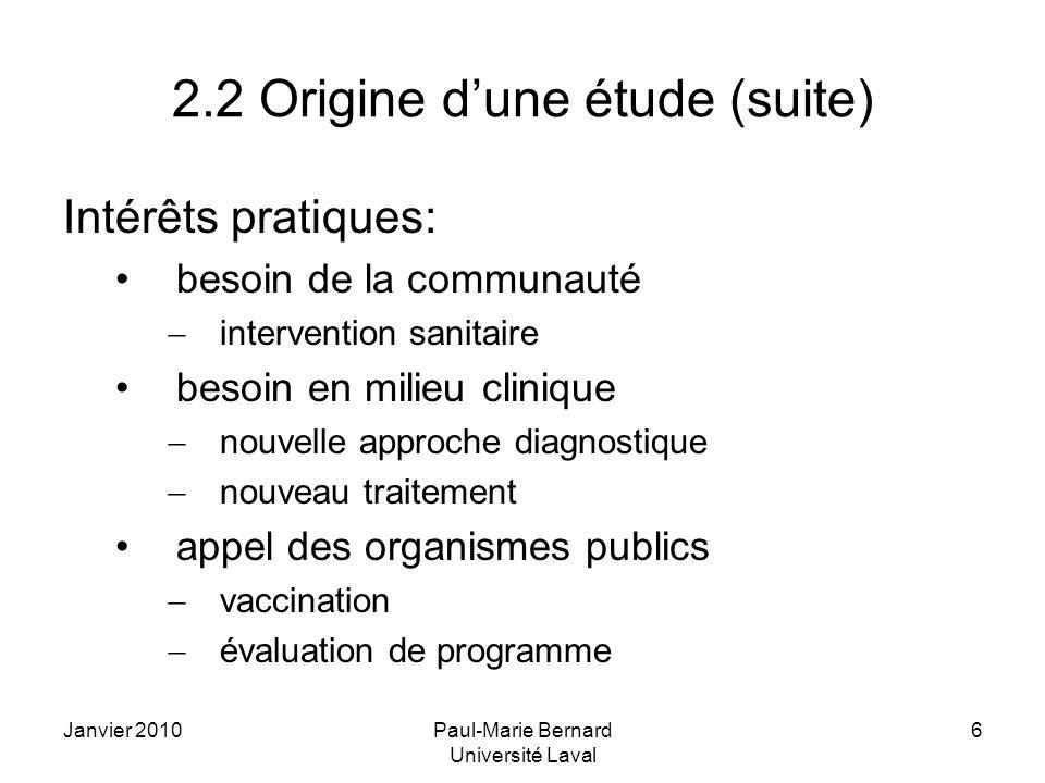2.2 Origine d'une étude (suite)