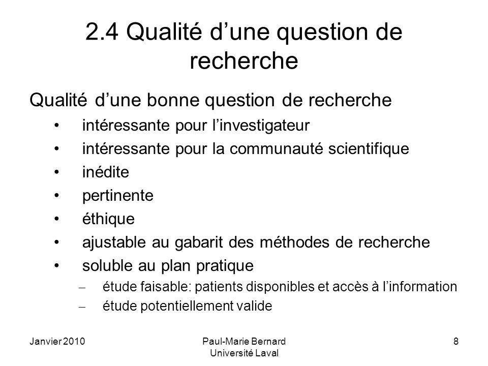 2.4 Qualité d'une question de recherche