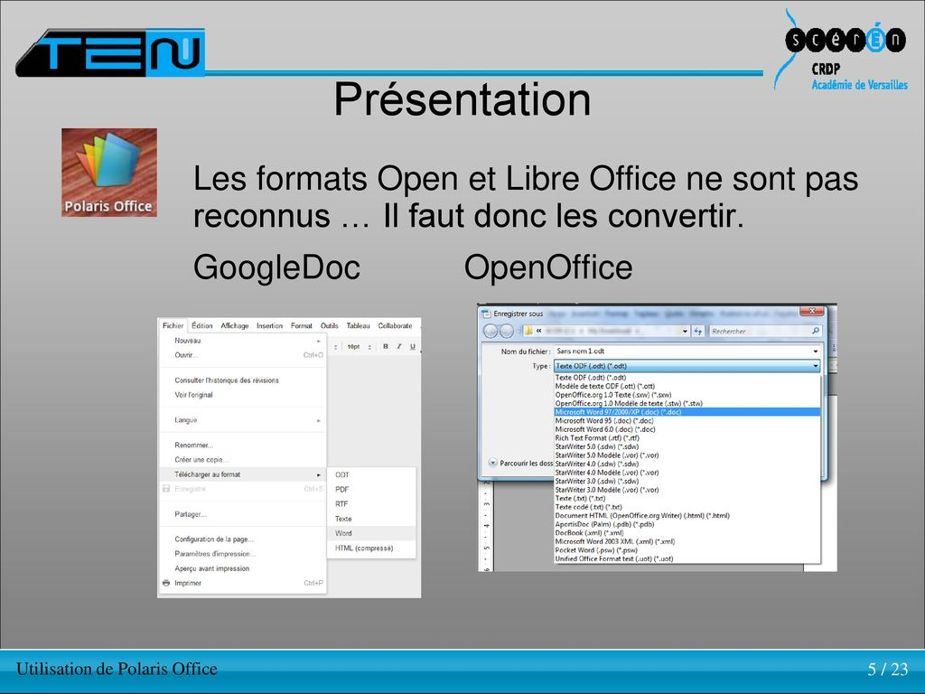 Tablette el ve nomade utilisation de polaris office ppt - Comment convertir un fichier pdf en open office ...