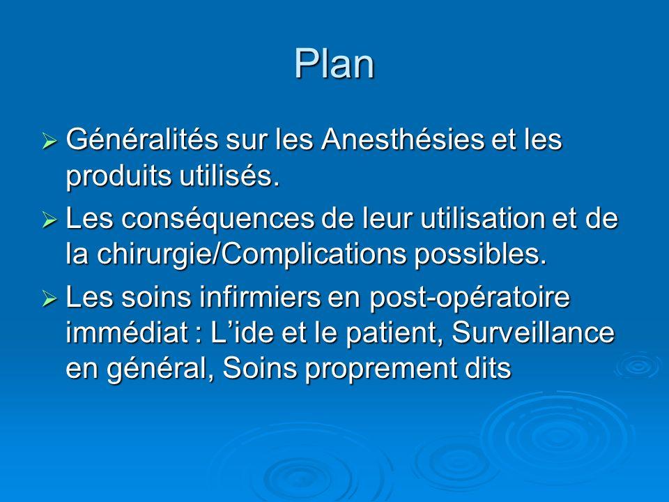 Plan Généralités sur les Anesthésies et les produits utilisés.