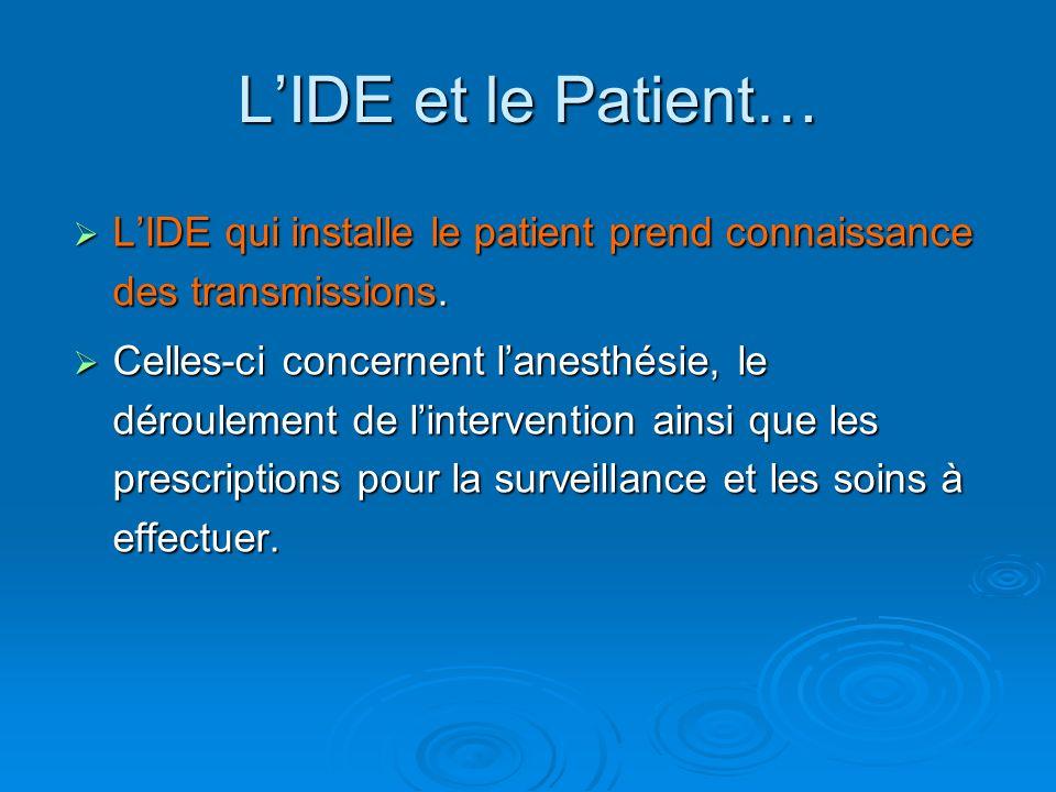 L'IDE et le Patient… L'IDE qui installe le patient prend connaissance des transmissions.
