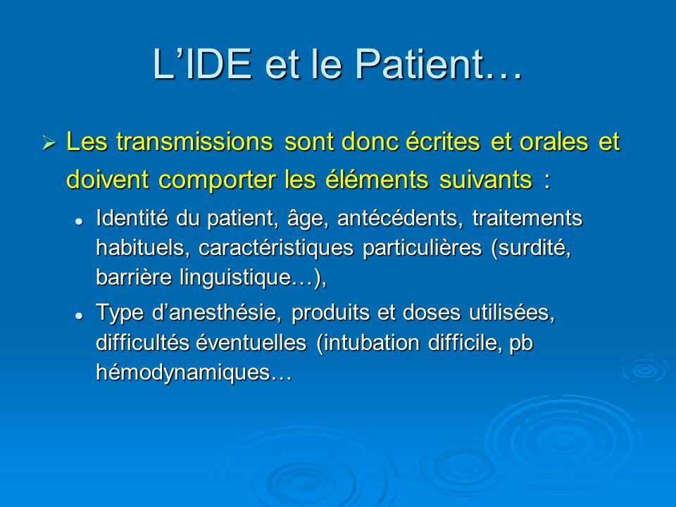 L'IDE et le Patient… Les transmissions sont donc écrites et orales et doivent comporter les éléments suivants :