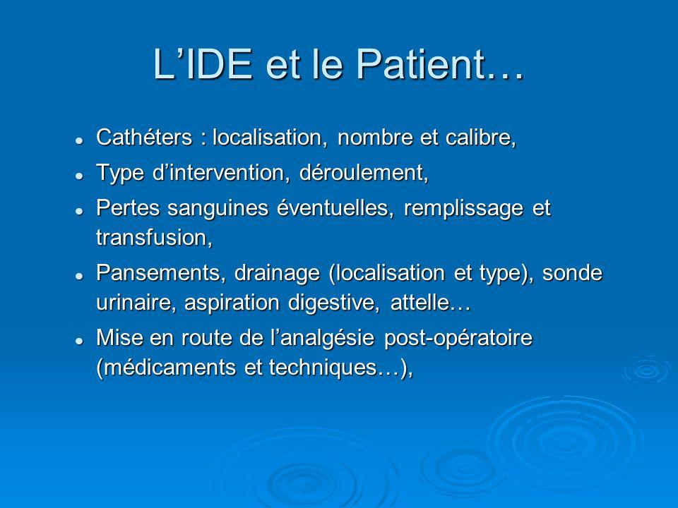 L'IDE et le Patient… Cathéters : localisation, nombre et calibre,