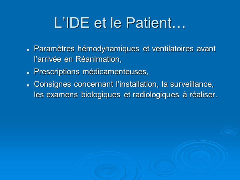 L'IDE et le Patient… Paramètres hémodynamiques et ventilatoires avant l'arrivée en Réanimation, Prescriptions médicamenteuses,