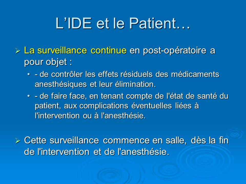 L'IDE et le Patient… La surveillance continue en post-opératoire a pour objet :