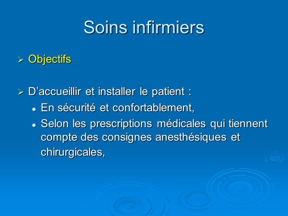 Soins infirmiers Objectifs D'accueillir et installer le patient :