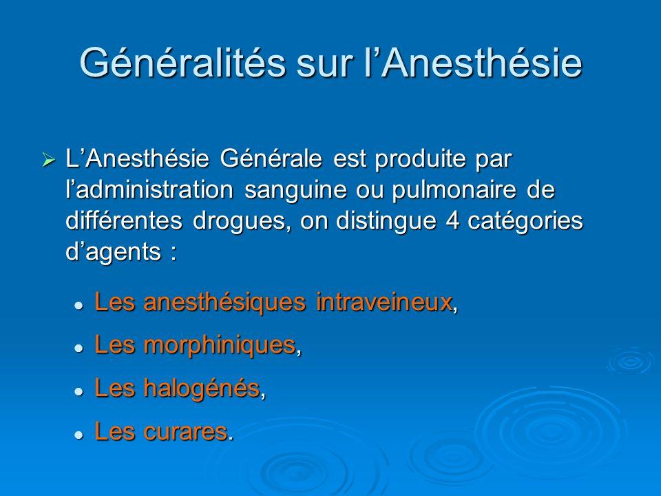 Généralités sur l'Anesthésie