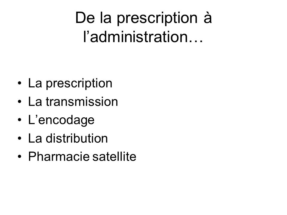 De la prescription à l'administration…