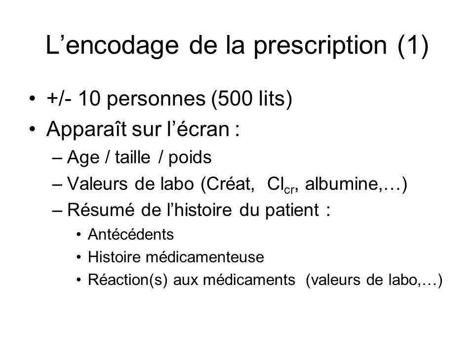 L'encodage de la prescription (1)