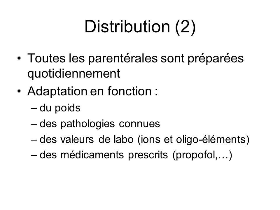 Distribution (2) Toutes les parentérales sont préparées quotidiennement. Adaptation en fonction : du poids.