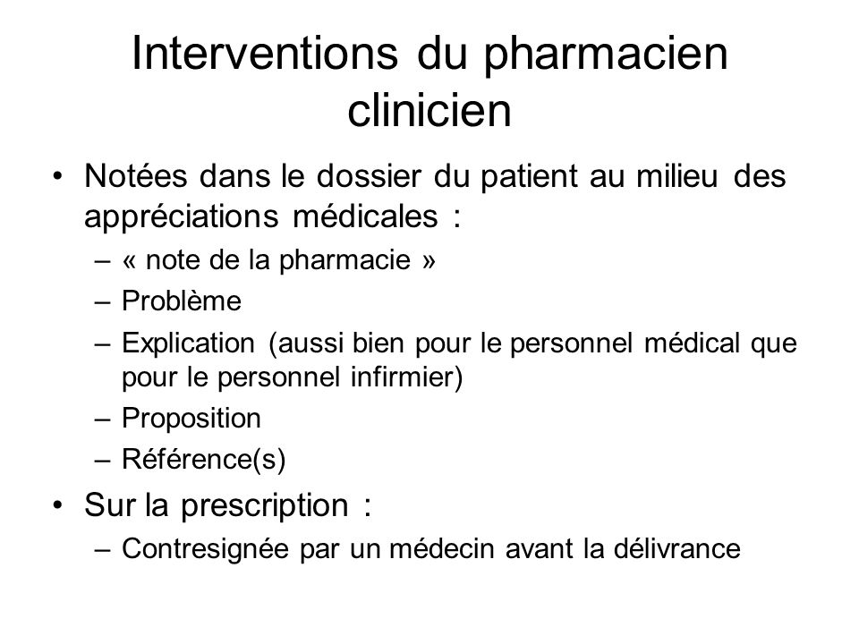 Interventions du pharmacien clinicien