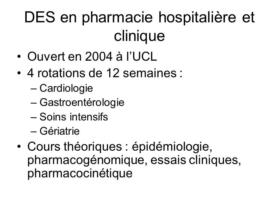 DES en pharmacie hospitalière et clinique