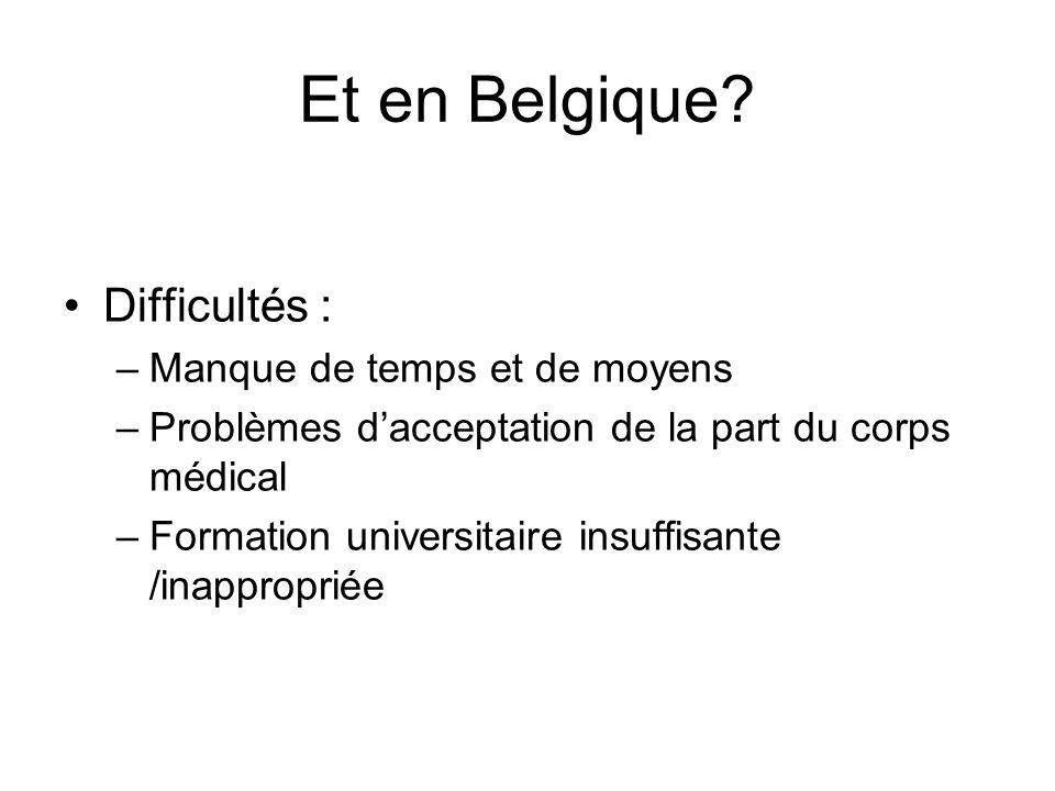 Et en Belgique Difficultés : Manque de temps et de moyens