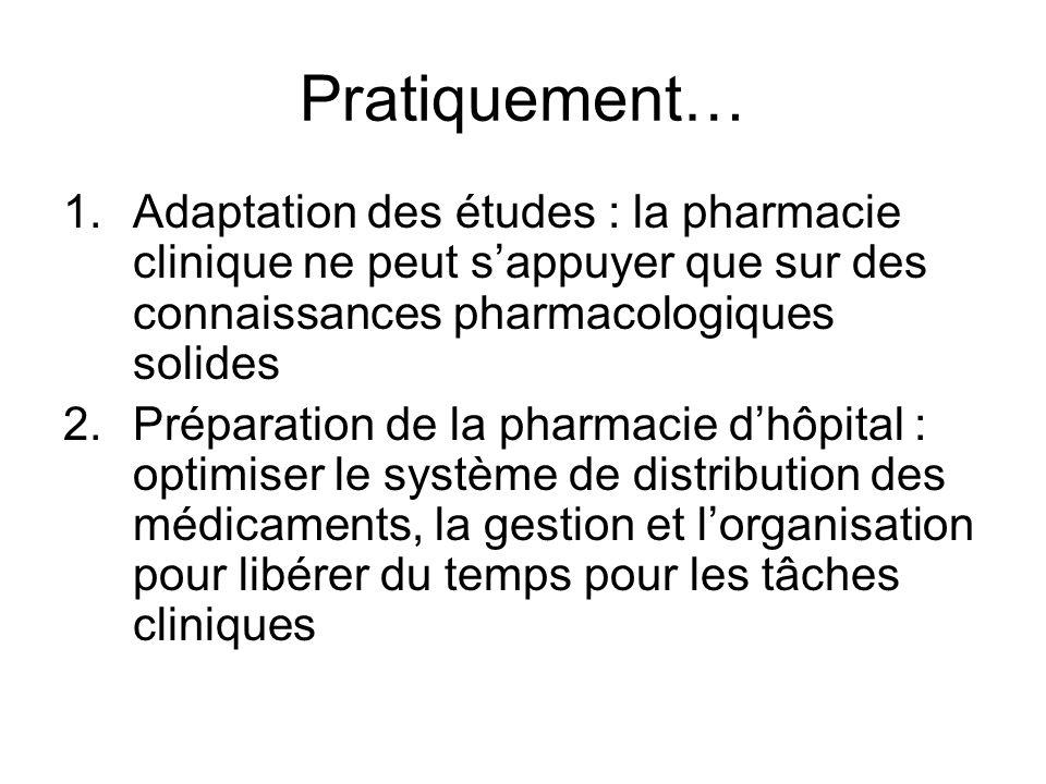 Pratiquement… Adaptation des études : la pharmacie clinique ne peut s'appuyer que sur des connaissances pharmacologiques solides.
