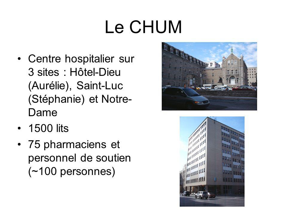 Le CHUM Centre hospitalier sur 3 sites : Hôtel-Dieu (Aurélie), Saint-Luc (Stéphanie) et Notre-Dame.