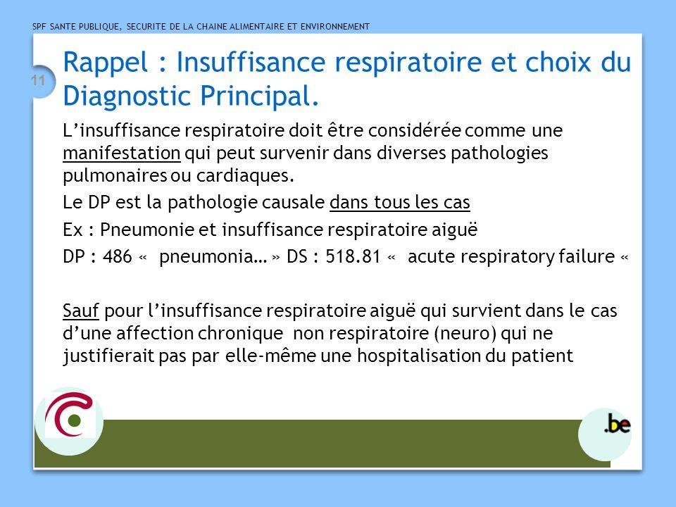 Rappel : Insuffisance respiratoire et choix du Diagnostic Principal.