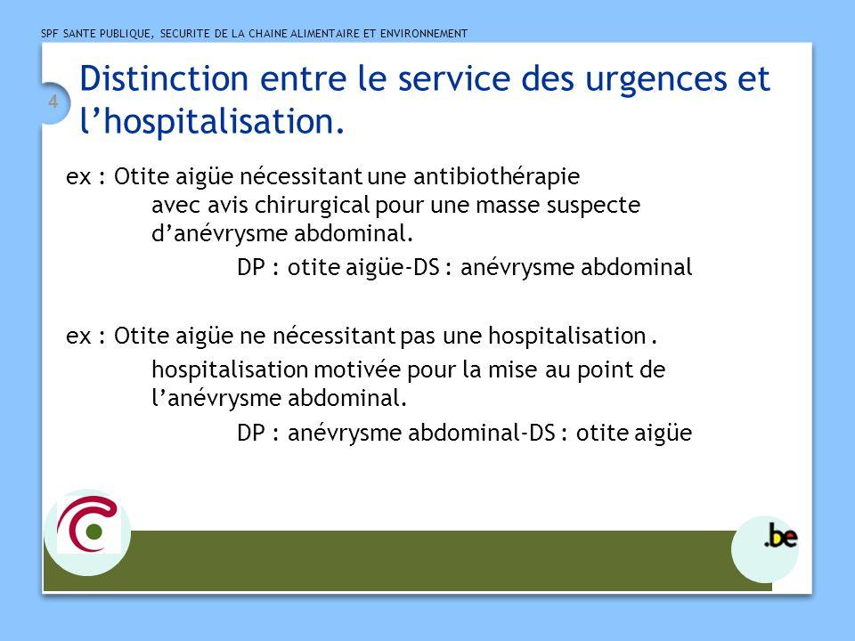 Distinction entre le service des urgences et l'hospitalisation.