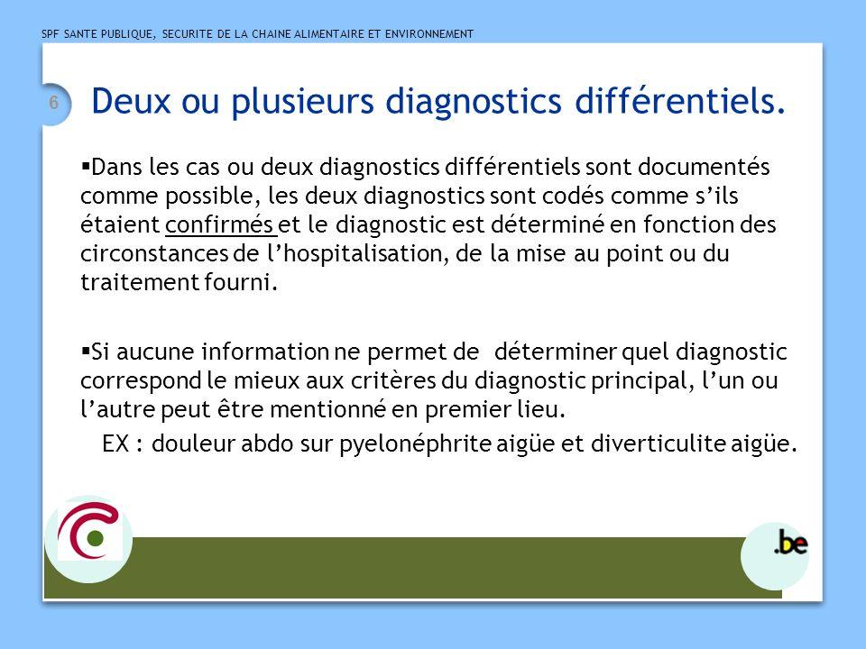 Deux ou plusieurs diagnostics différentiels.