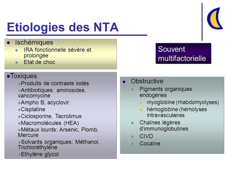Etiologies des NTA Souvent multifactorielle Ischémiques Toxiques
