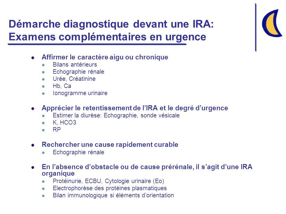 Démarche diagnostique devant une IRA: Examens complémentaires en urgence