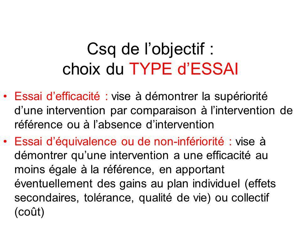 Csq de l'objectif : choix du TYPE d'ESSAI