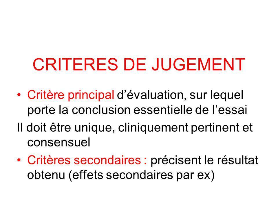 CRITERES DE JUGEMENT Critère principal d'évaluation, sur lequel porte la conclusion essentielle de l'essai.