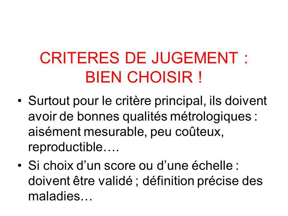 CRITERES DE JUGEMENT : BIEN CHOISIR !
