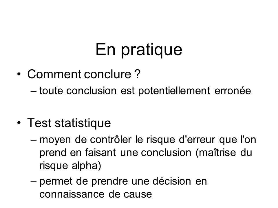 En pratique Comment conclure Test statistique