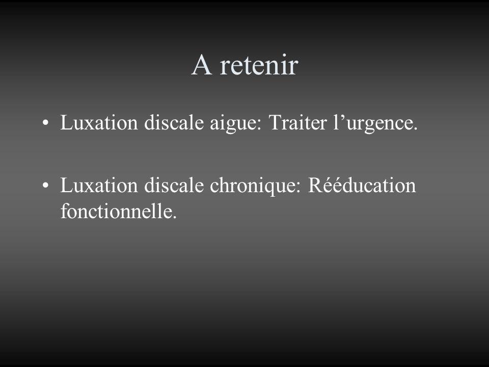 A retenir Luxation discale aigue: Traiter l'urgence.